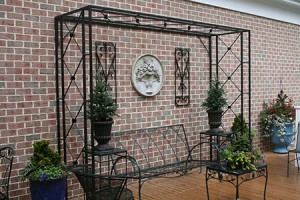 Deck Trellis with rosettes to complement furniture- 8' x 10' x 3'